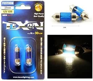 TEXON SUPER WHITE MINIATURE FESTOON 31mm (2 bulbs) - with Warranty