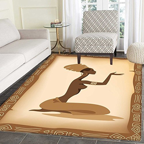 African Woman Area Mat Ancient Folk Art Element Frame Native Lady Hand Gesture Tribal Antique Indoor/Outdoor Area Mat 2'x3' Brown Light Brown (Rugs Area Folk Art)