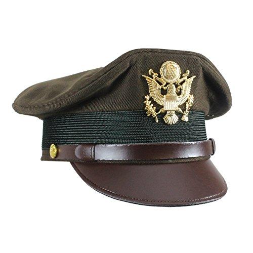 (Epic Militaria Replica WW2 US Army Officers Visor Cap - Olive (XX-Large - 62/63 cm))
