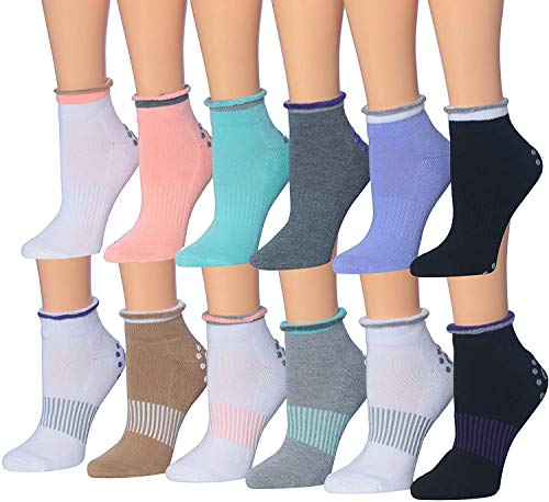 Ronnox Women's 12-Pairs Anti-Skid Non-Slip Silicone-Gripper Low Cut Cushioned Socks, For Yoga Pilates & Barre, Small/Medium, RY01-AB-SM