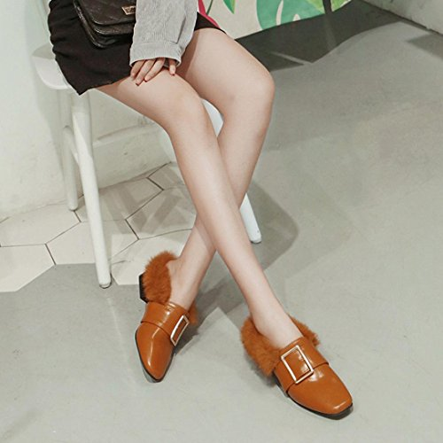 Sikye Winter Ladies Shoes Womens Leather High Block Heel Boots Shoes Slip Shoes Brown rI9wvm7