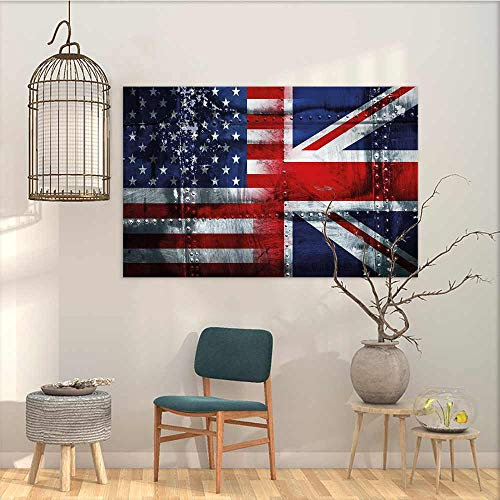 Wall Painting Prints Sticker Union Jack Alliance Togetherness Theme Composition of UK and USA Flags Vintage On Canvas Abstract Artwork Navy Blue Red White W35 xL31