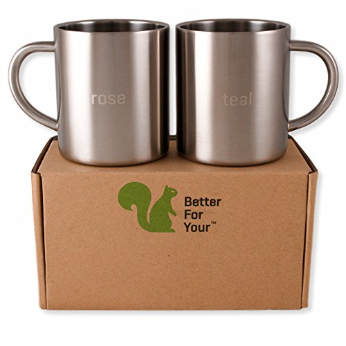 Stainless Steel Double Wall Coffee Mugs - Tea Cups - Rose -