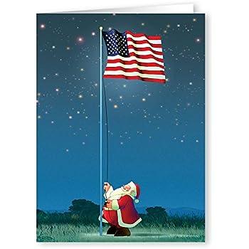 patriotic christmas card 18 cards envelopes american flag