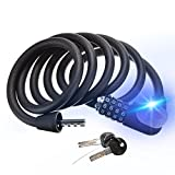 Bike Lock,OUTERDO Bicycle Cable Lock Cycling 5-Digit Combination Resettable Security Chain Lock with LED light for Electric Vehicle Scooter Mopeds Motorcycle Grills and BIke 6-Feet