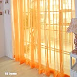 TR.OD Window Curtain Bright Candy Color Floral Voile Curtain Beautiful House Decor Door Window Curtain Panel Sheer Valances Scarf Orange