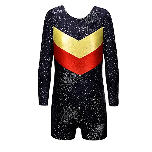 DAXIANG One-Piece Toddler Girls Gymnastics Leotard For Shiny Double-V Unitard Biketard For Girls 3-10 Years (130(6-7Y), Black(Long Sleeves))