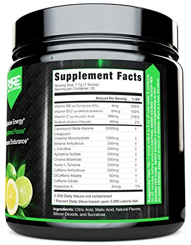 Pre Workout Powder with Creatine + Beta Alanine + Intense Nitric Oxide Energy | Agmatine Sulfate + Choline Bitartrate + Acetyl L Tyrosine | Lemon Lime 30 servings | Best Energy Powder For Workouts