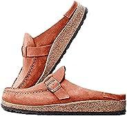 MoneRffi Women's Women Clogs Suede Slip On Sandals Loafer Flat Round Toe Backless Walking Slippers S