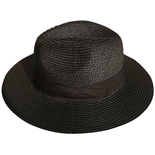 Lanzom Women Wide Brim Straw Panama Roll up Hat Fedora Beach Sun Hat UPF50+ ()