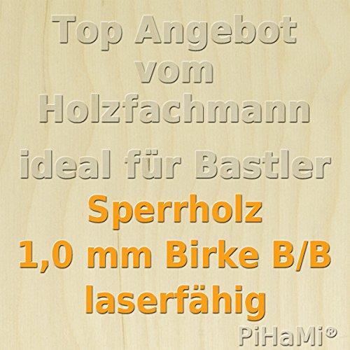 PiHaMi Flugzeugsperrholz Birke Qualit/ät B//B laserf/ähig 1500 mm x 290 mm x 1 mm GP 51,94//m/²