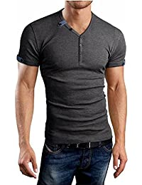 Aiyino Mens Summer Casual V-neck Button Cuffs Cardigan Short Sleeve T-Shirts