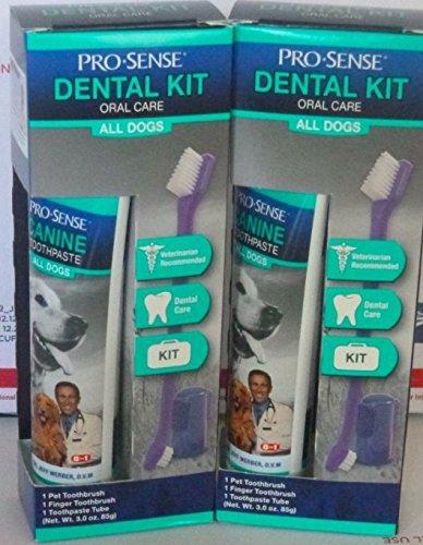 2 NIP Pro Sense Dental Kit Oral Care Dog Toothbrush and Toothpaste 3.0 Oz Each ()
