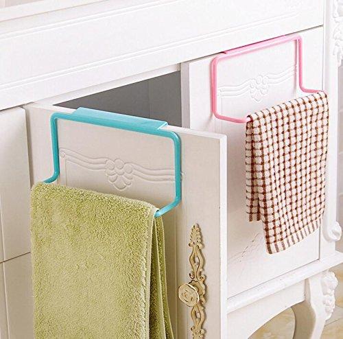 Custom Extra 2 PCs/Color Kitchen Cupboard Door Back - Hanging Rack Holder Rail - Kitchen Towel Hanging Rack Holder Rail Organizer Kitchen Cabinet Hanger - White/ Blue/ Green/ Pink Color - Brushed Custom Rack Shelf