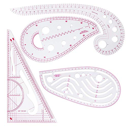 Clothing Fashion Ruler, 4 Pieces French Metric Ruler Plastic Curve Shaped Grading Rulers, for Sewing Dressmaking Pattern Design Drawing Template, Multi-Purpose Cutting Ruler