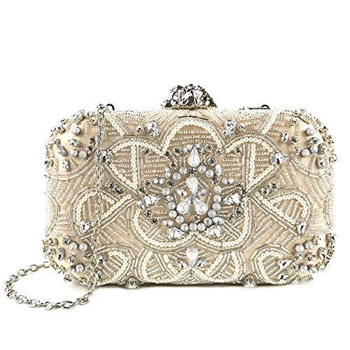 Heavy Industry Beaded Evening Bag Dress Bride Hand Bag with Diamond Pearl Petal Chain One Shoulder Party Bag (Beaded)