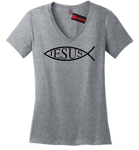 Comical Shirt Ladies Jesus Fish Shirt Christian Faith Religion God Sport Grey L