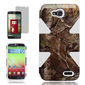[ARENA] WHITE HUNTING CAMO STAR HYBRID COVER HARD GEL GUMMY CASE for LG L90 TMOBILE + FREE SCREEN PROTECTOR