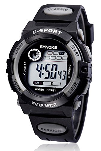 Gray Chronograph Alarm (WUTONYU(TM) Unisex Kids Student Sports Watches with Alarm Chronograph Calendar Digital wristwatch(Gray))