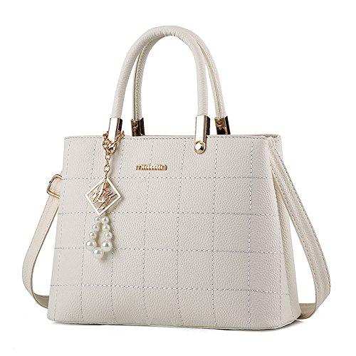 Women Handbag Shoulder Bag Messenger Tote Purse PU Leather (White) - 4