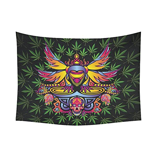 Interestprint Colorful Skull Green Marijuana Tapestry Horizontal Wall Hanging Psychedelic Party Wall Decor Art for Living Room Bedroom Dorm Cotton Linen Decoration 80 X 60 Inches