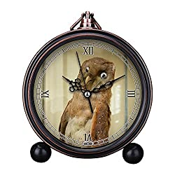 Vintage Retro Living Room Decorative Non-ticking, HD Glass Lens, Easy to Read, Quartz, Analog Large Numerals Bedside Table Desk Alarm Clock-029.Bad Taxidermy