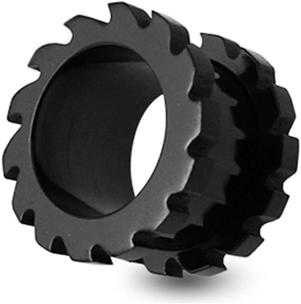 SawBlade Style Black Anodized 316L Surgical Steel Screw Fit Flesh Tunnels