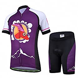 Ateid Children Boys' Girls' Cycling Jersey Set Short Sleeve with 3D Padded Shorts Antelope 4-5 Years