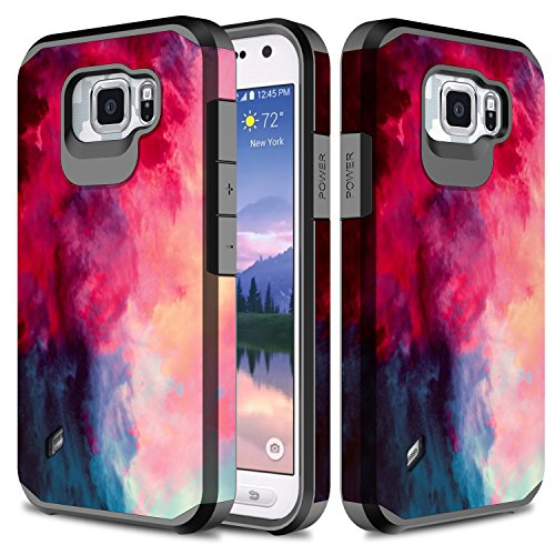 S6 Active Case, TownShop Paint Clouds Design Hard Impact Dual Layer Shockproof Bumper Case for Samsung Galaxy S6 Active (G890)