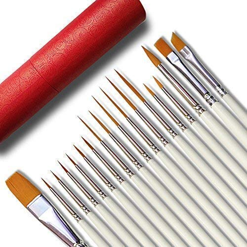 Afantti 18 Pcs Detail Fine Miniature Figurine Paint Brushes Mini Micro Paintbrush Painting Kit Set | Extra Fine Point Tip | Nylon for Fabric Citadel Face Model Leather Acrylic Watercolor Oil