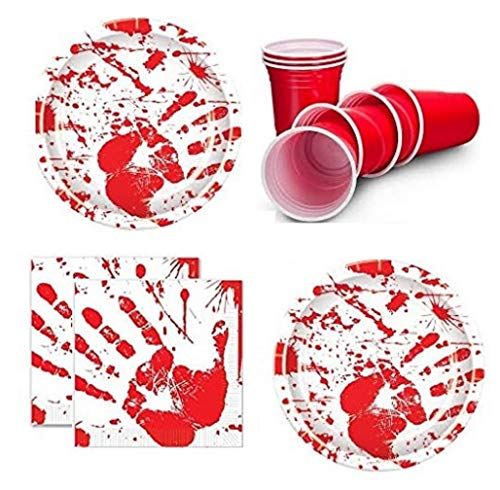 Zombie Party Supplies - Halloween Party Bloody Handprints - Party Pack for 16 Guests Including: Large Plates, Napkins & Cups