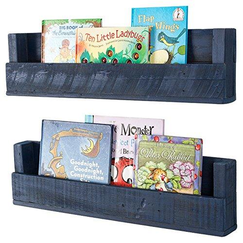 Drakestone Designs Nursery Bookshelves 28 Inch (Set of 2)   Wall Mount   Handmade Rustic Reclaimed Wood (Navy Blue) (Bookshelf Navy Blue)