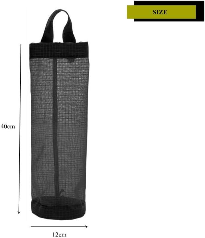 N\A 3Pcs Plastic Bag Holder Portable Mesh Hanging Bag Holder Trash Bags Storage Dispenser for Home Kitchen(Black Yellow)