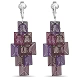 Beautiful Dangle Clip On Earrings for Women, Girls, Bohemian Drop Butterfly, Dragonfly, Leaves, Flowers (Purple Cubes)
