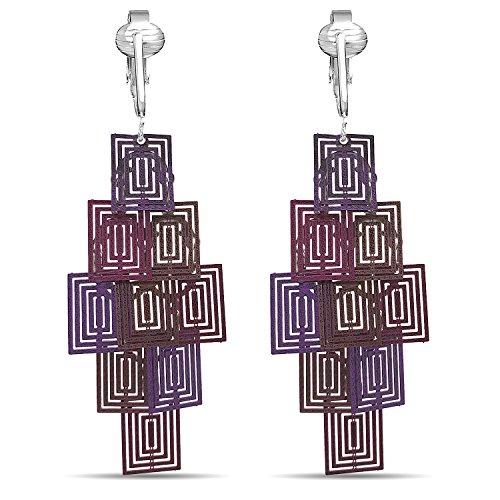 Beautiful Dangle Clip On Earrings for Women, Girls, Bohemian Drop Butterfly, Dragonfly, Leaves, Flowers (Purple Cubes) by Clip Earring Shop