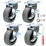 DICASAL Durable Heavy Duty Casters Wear Resistant Grey TPR Material Swivel Wheels Castors for Furniture Carts and DIY Tools 4 Pack (3 Inch)