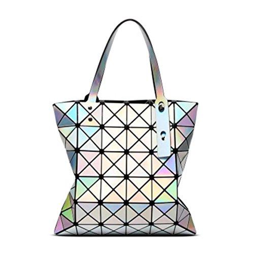 À la mode Sac à bandoulière géométrique sac à bandoulière femme sac à main Lingge, 32.5 * 32.5cm Silver
