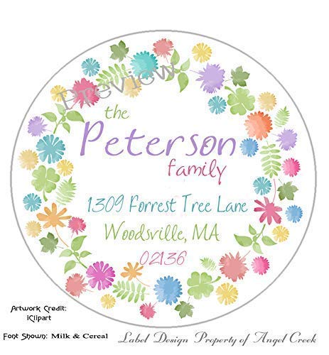 Customized Personalized Round Address Labels - Pastel Bright Flowers Choice of 3 Sizes