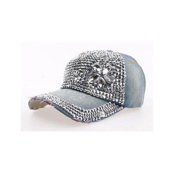 Denim gorras de béisbol con manual (flores Fashion brillante diamantes Niñas sombrero: Amazon.es: Ropa y accesorios
