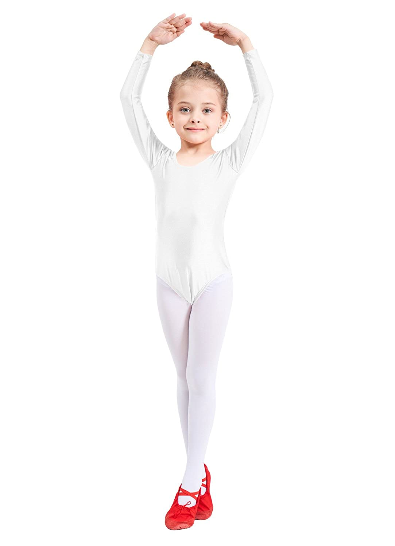 Ensnovo Girls Spandex Long Sleeve Leotard for Dance Gymnastics and Ballet