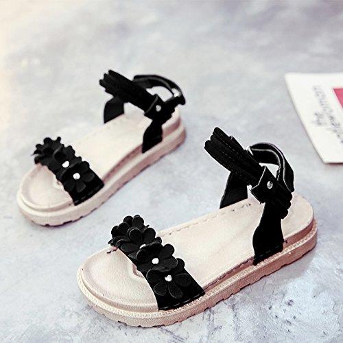 RUGAI-UE Flor sandalias planas estudiante Playa viento Retro zapatos de mujer Black