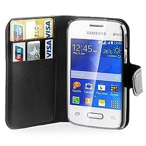 Electro-Weideworld Case/Funda de Cuero PU Piel Bolsa para Samsung Galaxy Pocket 2 SM-G110, negro