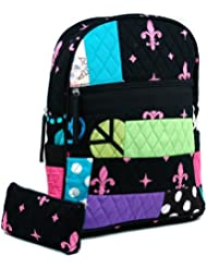 Dasein Women's Patchwork Quilted Backpack w/ Convertible Shoulder Straps -Black/Pink