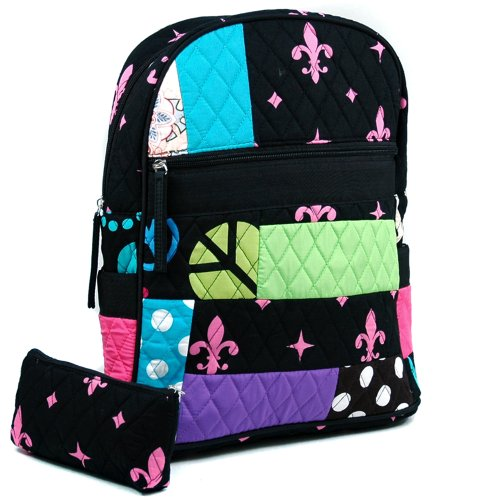 dasein-womens-patchwork-quilted-backpack-w-convertible-shoulder-straps-black-pink