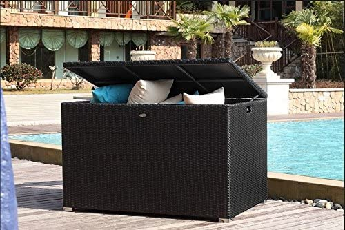 Al Jardín de Chloé – Baúl de almacenamiento exterior en resina trenzada (Design – ysais – negro – 1000 L): Amazon.es: Jardín