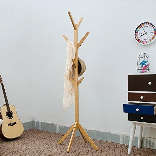 ZHANWEI ハンガーラック 床4点サポート、木製の色、178cmの長さがある床の立っているコートの帽子ラックの竹 強い支持力