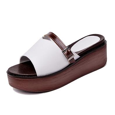 Frau Sommer Dicke Sohlen Pantoffeln,Leinwand Flachen Boden Rutschfest Gefütterte Hausschuhe-B Fußlänge=23.8CM(9.4Inch)