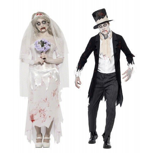 Mens Ladies Couples Fancy Dress Zombie Ghost Corpse Bride & Groom Halloween Costumes Outfits (Ladies UK 16-18 & Mens Medium) Black
