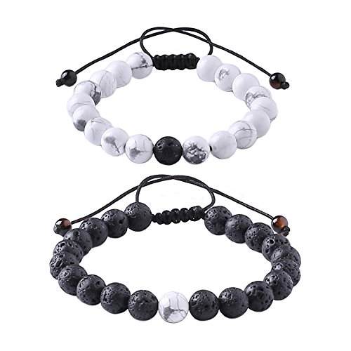 Distance Relationship Bracelet for Lover-2pcs Black Lava Rock & White Howlite Stone 8mm Beads (Braided) by MAOCEN
