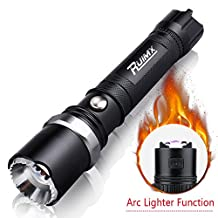 RUIMX Outdoor Fire Starter Series Waterproof LED Tactical Flashlight with Arc Lighter and Adjustable Focus Beam Self Defense Attack Head (800LM, 18650 Battery and Bike mount Included)